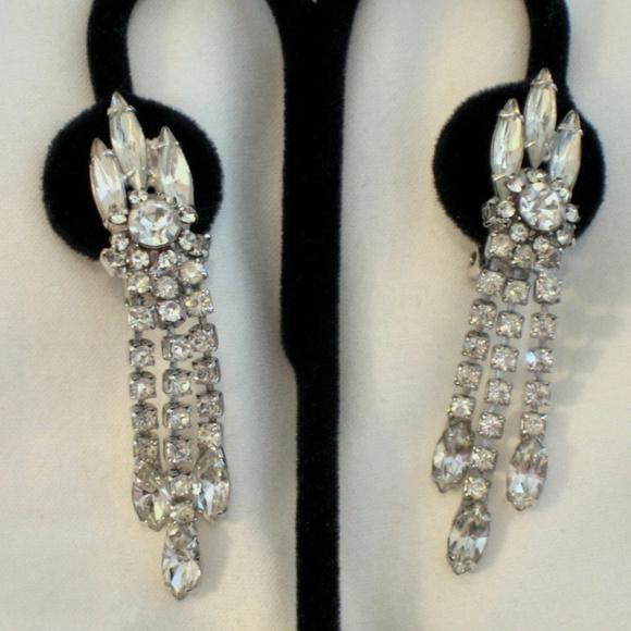 dangle rhinestone clip earrings bling earrings